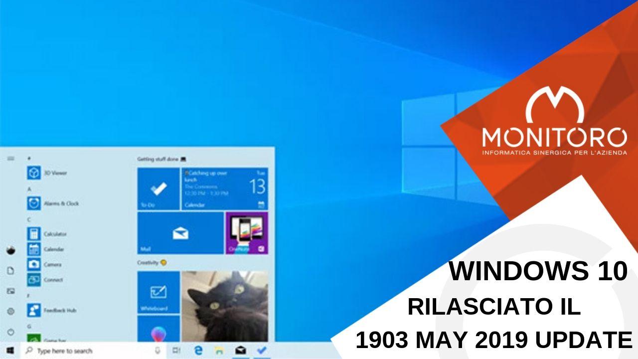 """Microsoft ha avviato la distribuzione di Windows 10 1903 """"May 2019 Update"""""""