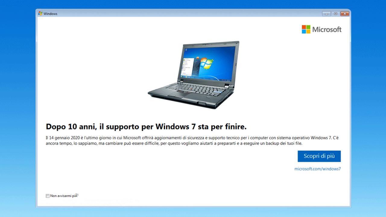 Fine del supporto Windows 7